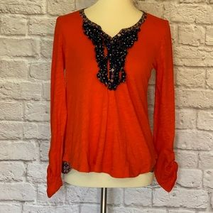 Postmark/Anthropologie Orange/blue knit top, XS